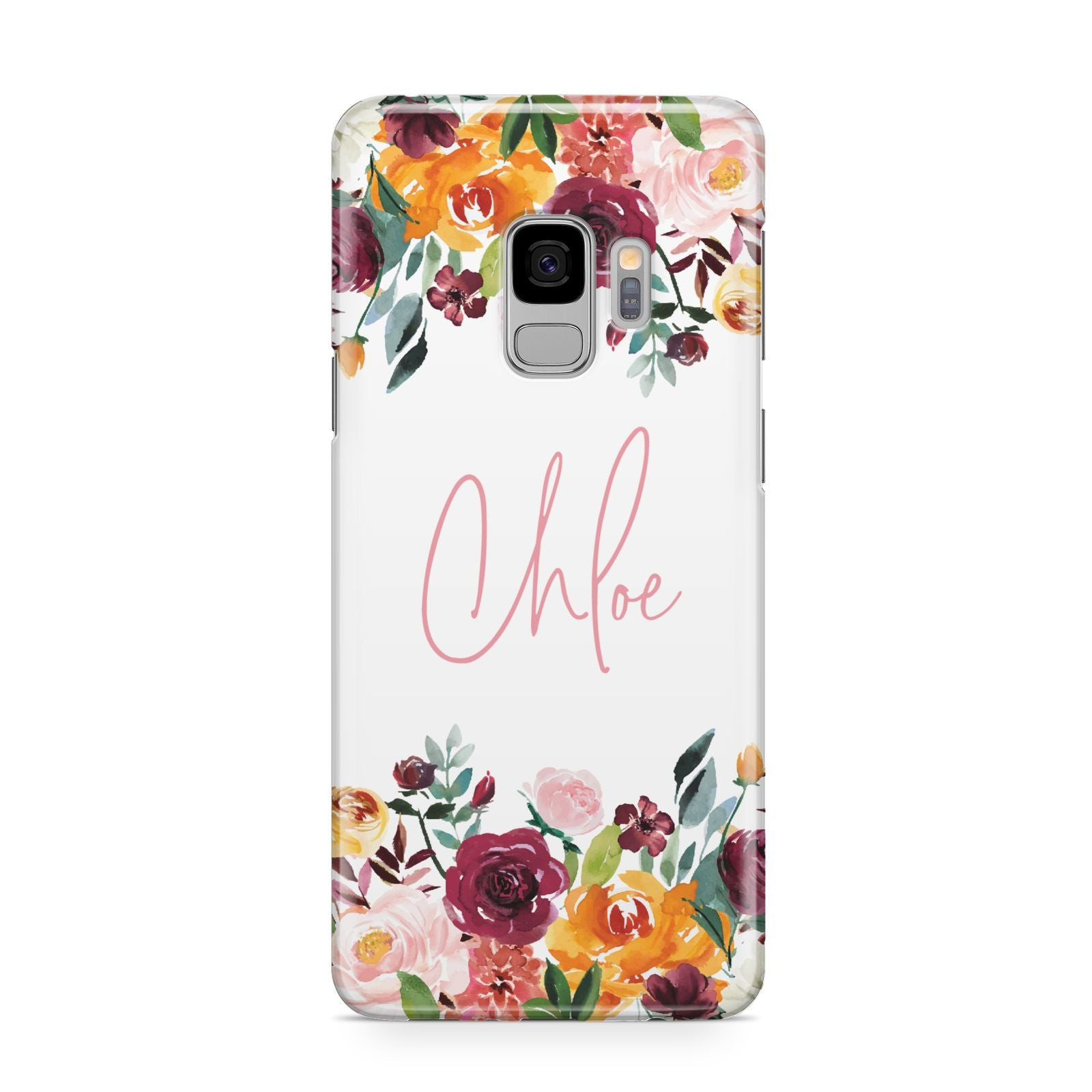 Personalised Name Transparent Flowers Samsung Galaxy S9 Case
