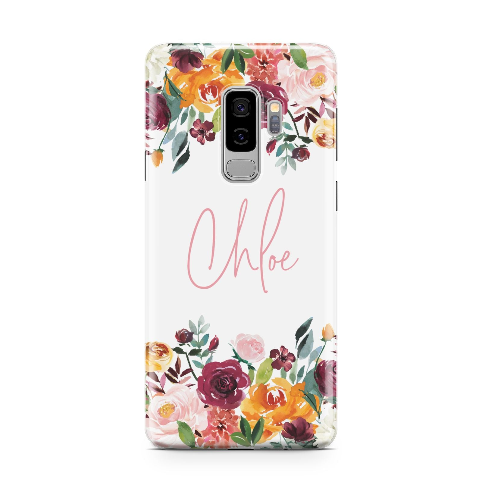 Personalised Name Transparent Flowers Samsung Galaxy S9 Plus Case on Silver phone