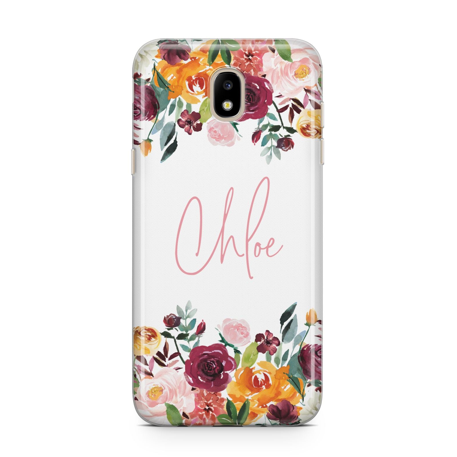 Personalised Name Transparent Flowers Samsung J5 2017 Case