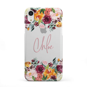 Personalised Name Transparent Flowers Apple iPhone Case