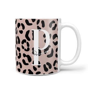 Personalised Nude Colour Leopard Print 10oz Mug