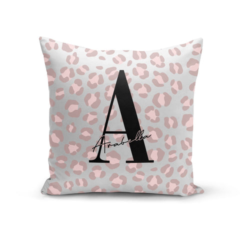Personalised Nude Pink Leopard Cushion