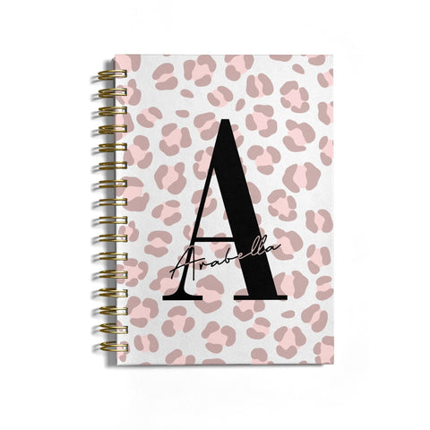 Personalised Nude Pink Leopard Notebook