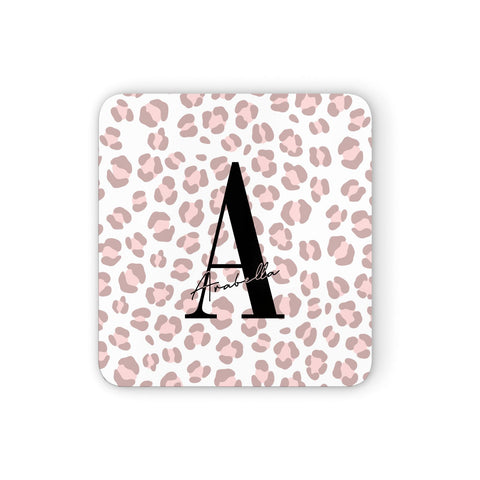 Personalised Nude Pink Leopard Coasters set of 4