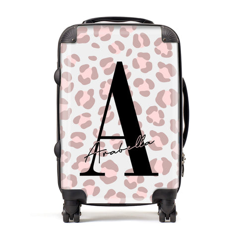 Personalised Nude Pink Leopard Suitcase