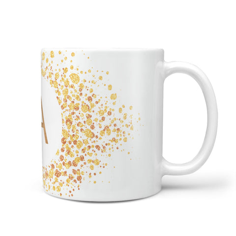 Personalised One Initial & Gold Flakes Mug