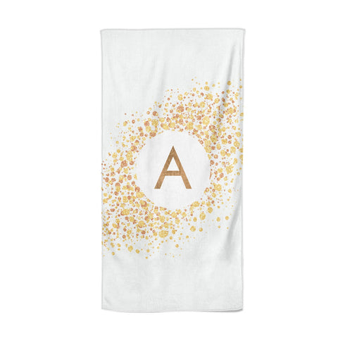 Personalised One Initial & Gold Flakes Beach Towel