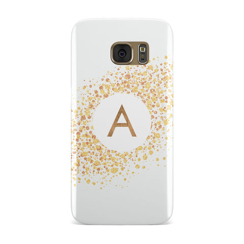 Personalised One Initial & Gold Flakes Samsung Galaxy Case