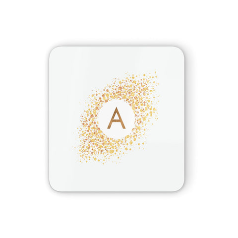 Personalised One Initial & Gold Flakes Coasters set of 4