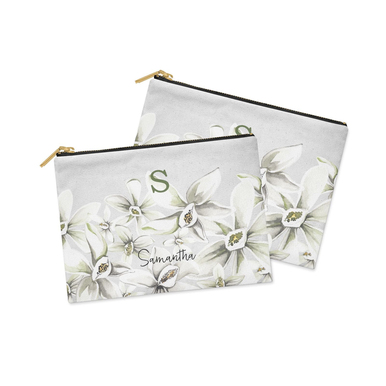 Personalised Orange Blossom Clutch Bag Zipper Pouch Alternative View