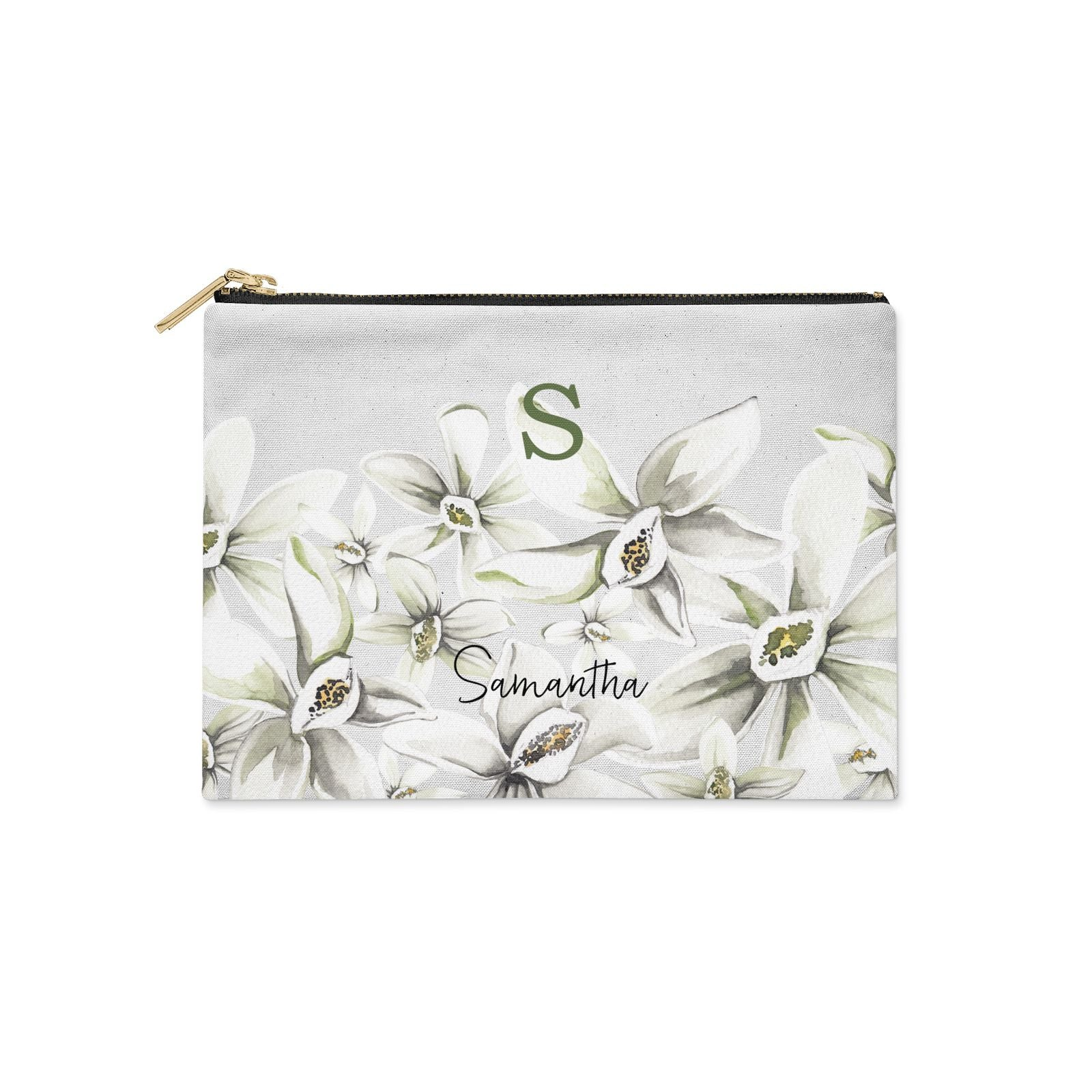 Personalised Orange Blossom Clutch Bag Zipper Pouch
