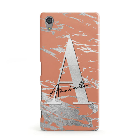 Personalised Orange Silver Sony Case