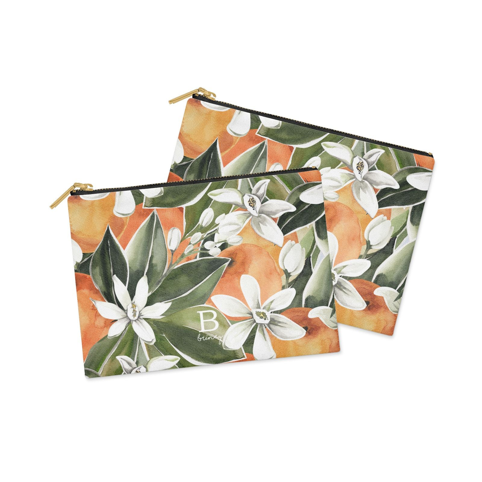 Personalised Orange Tree Clutch Bag Zipper Pouch Alternative View
