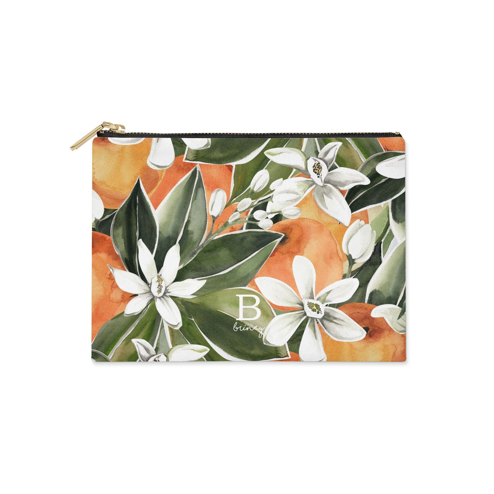 Personalised Orange Tree Clutch Bag Zipper Pouch