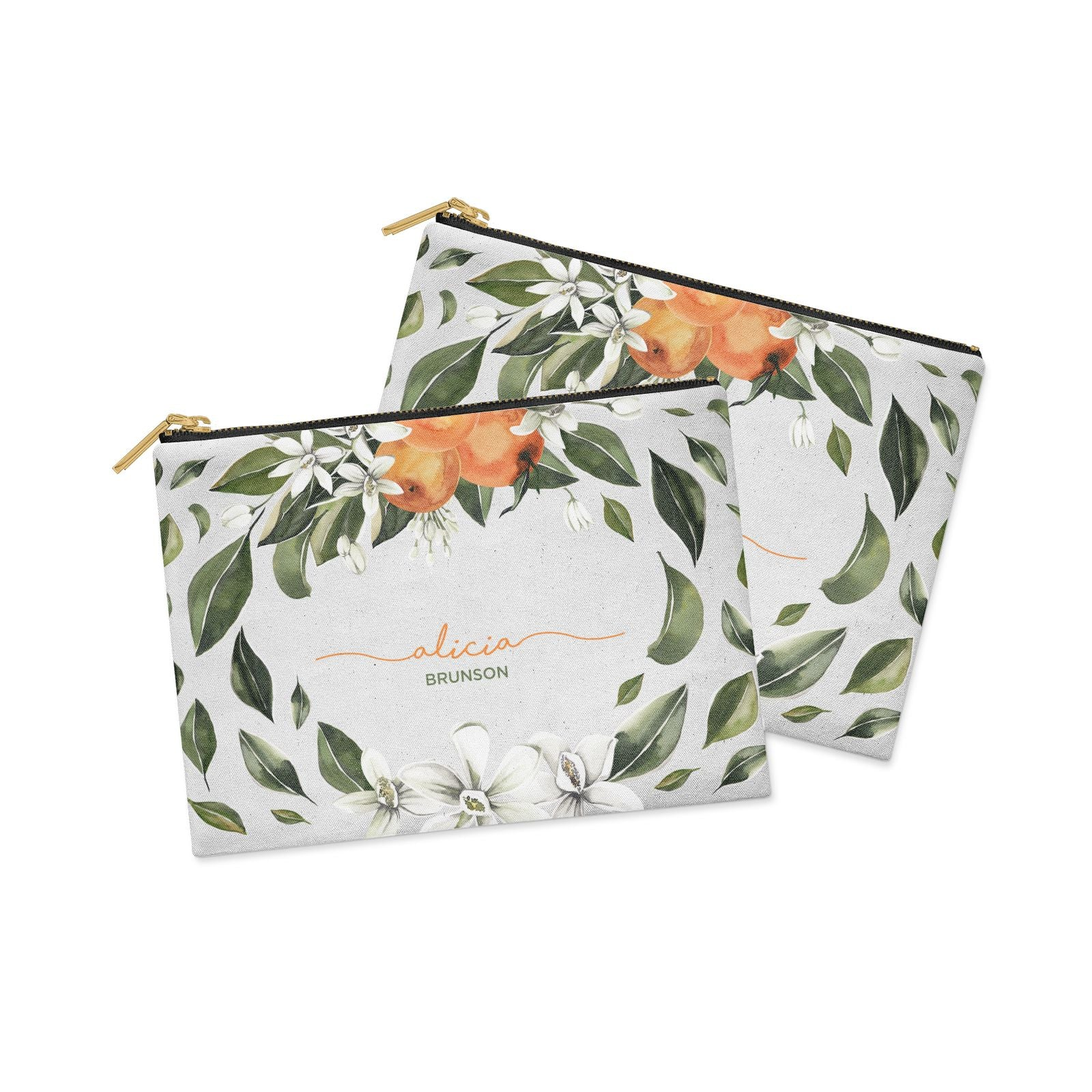 Personalised Orange Tree Wreath Clutch Bag Zipper Pouch Alternative View