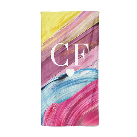 Personalised Paint Brush & Initials Beach Towel