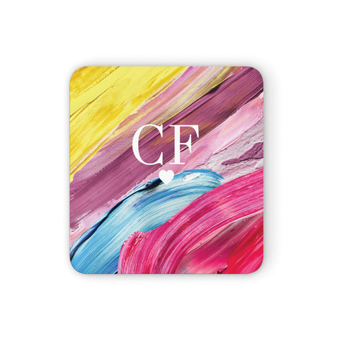 Personalised Paint Brush & Initials Coasters set of 4