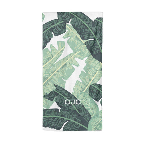 Personalised Palm Banana Leaf Beach Towel