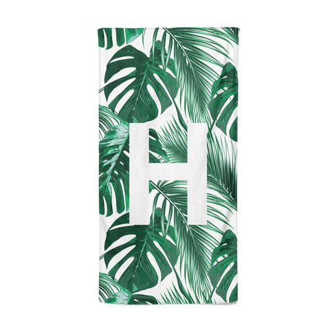 Personalised Palm Monstera Leaf Tropical Print Beach Towel