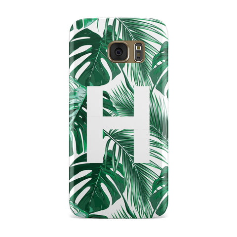 Personalised Palm Monstera Leaf Tropical Print Samsung Galaxy Case