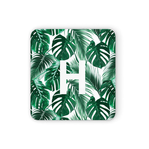 Personalised Palm Monstera Leaf Tropical Print Coasters set of 4