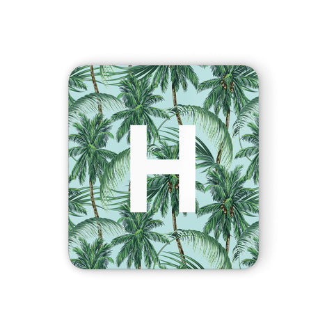 Personalised Palm Tree Tropical Coasters set of 4