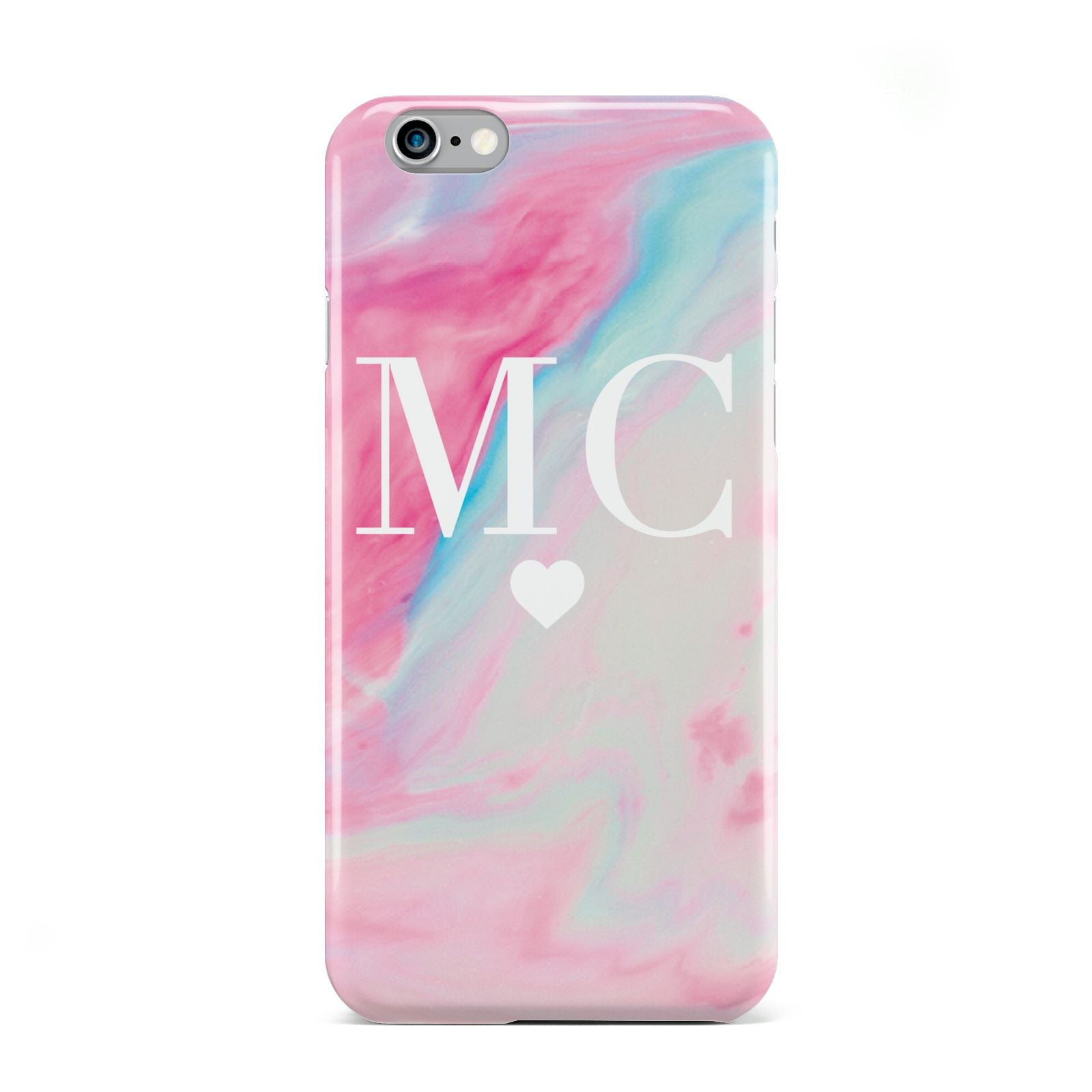 Personalised Pastel Marble Initials Apple iPhone 6 Case