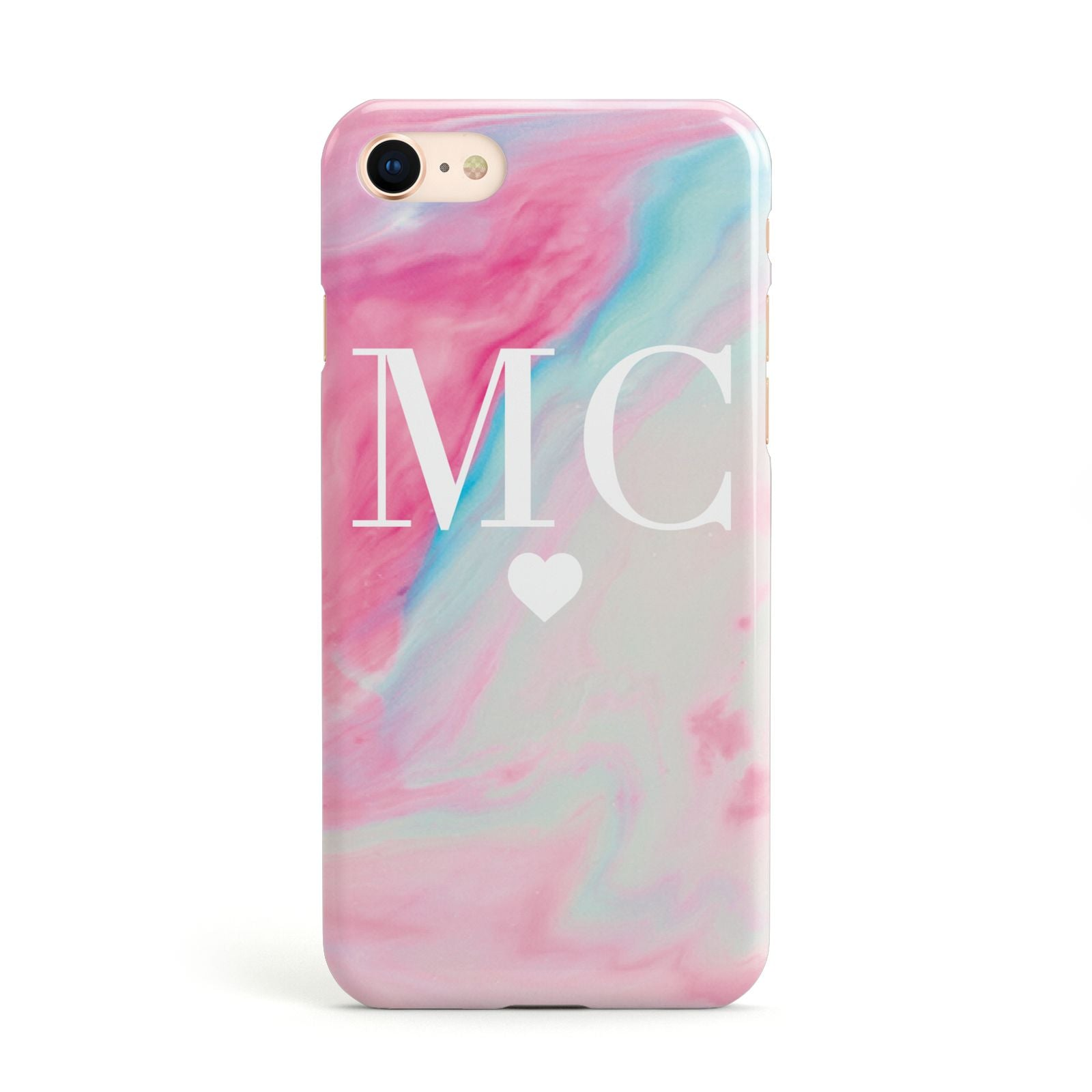 Personalised Pastel Marble Initials Apple iPhone Case