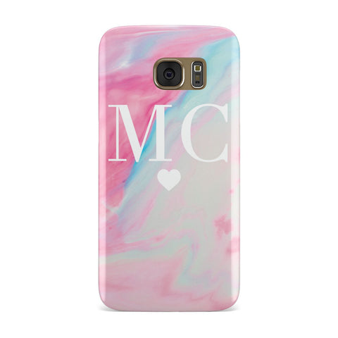 Personalised Pastel Marble & Initials Samsung Galaxy Case