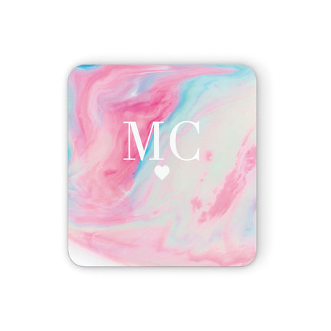 Personalised Pastel Marble & Initials Coasters set of 4