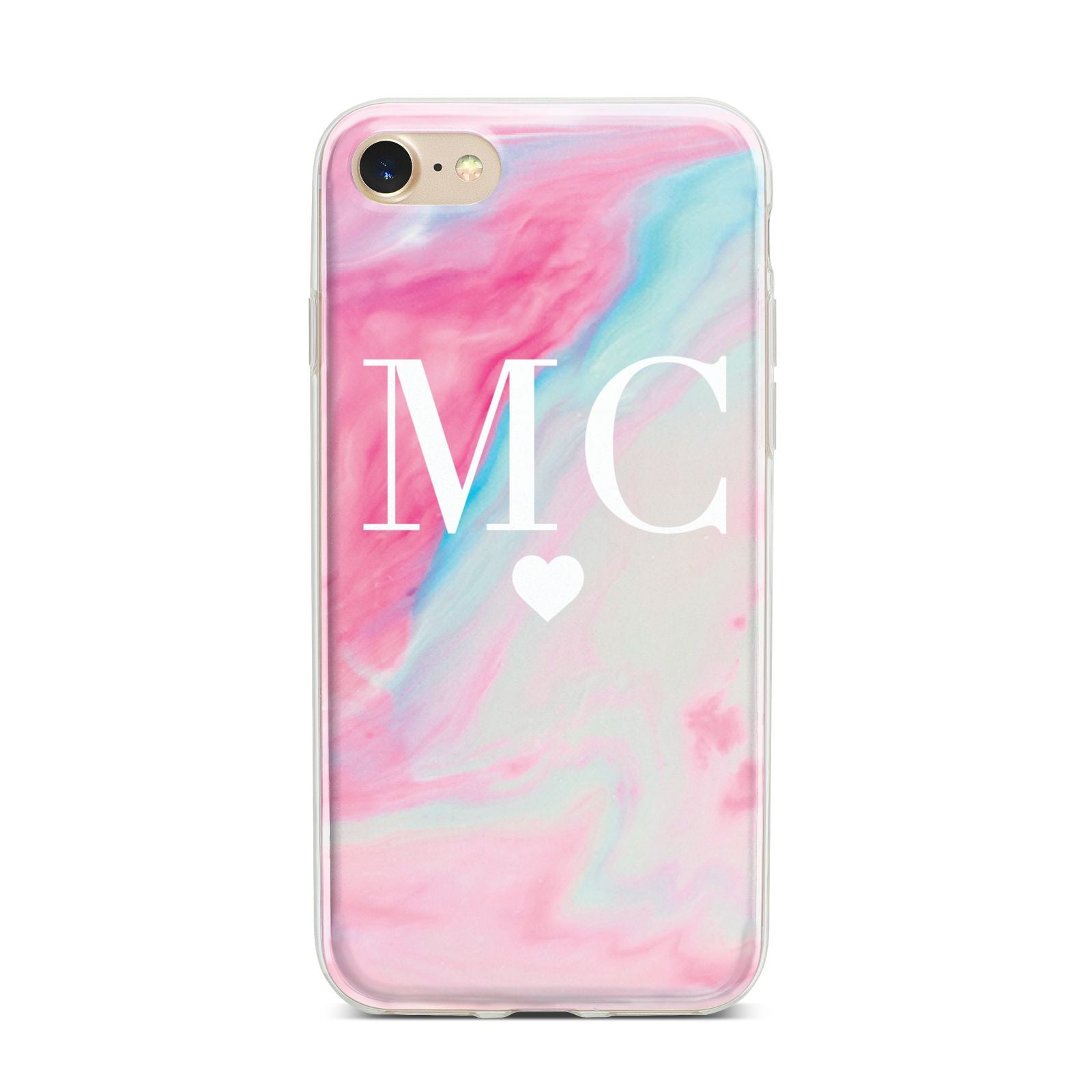Personalised Pastel Marble Initials iPhone 7 Bumper Case on Gold iPhone