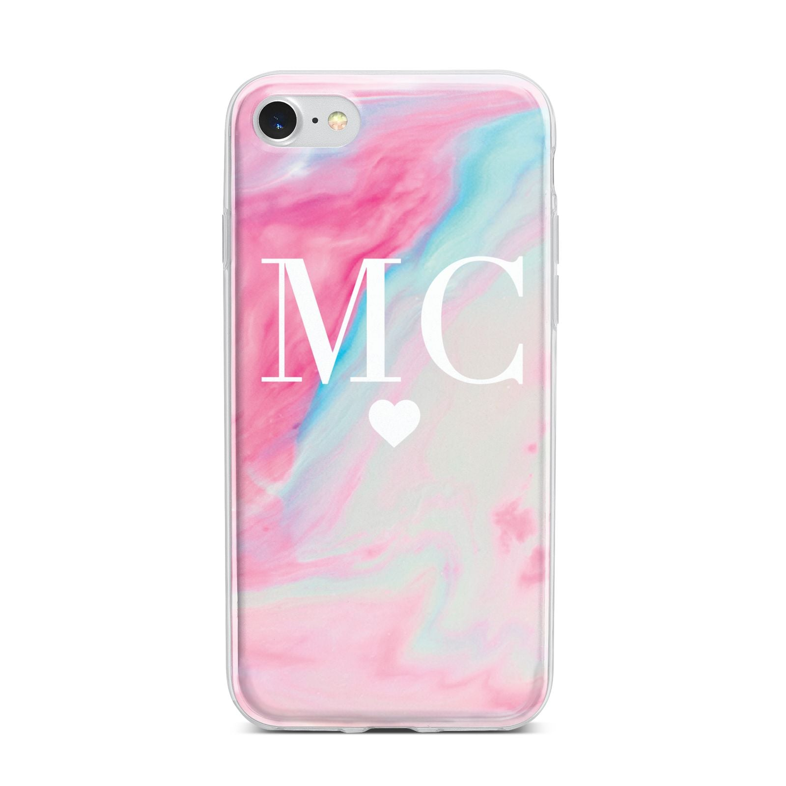 Personalised Pastel Marble Initials iPhone 7 Bumper Case on Silver iPhone