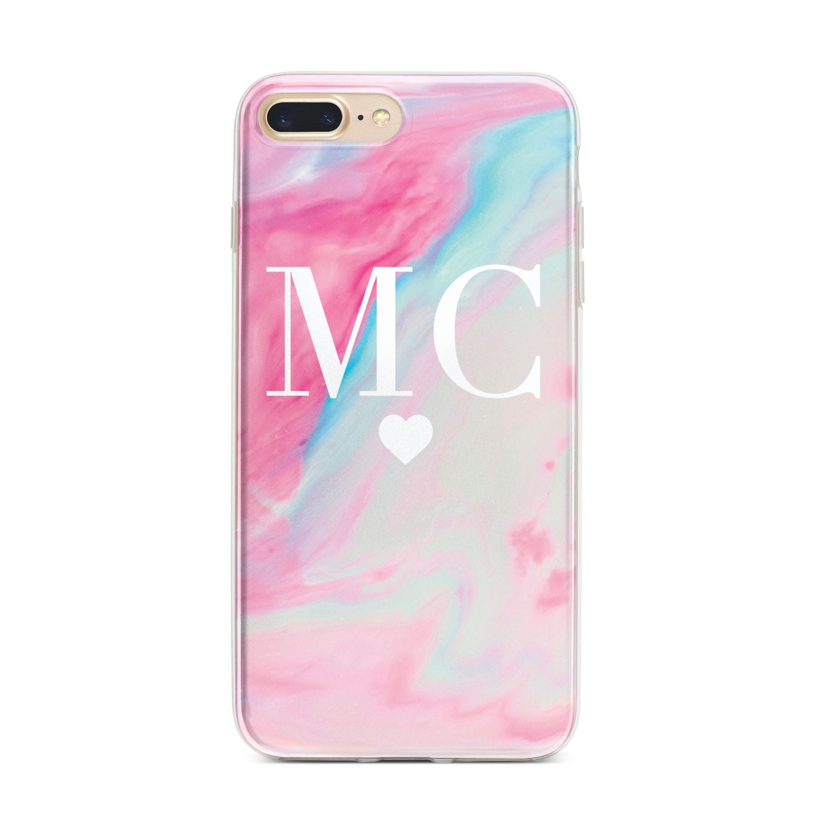 Personalised Pastel Marble Initials iPhone 7 Plus Bumper Case on Gold iPhone