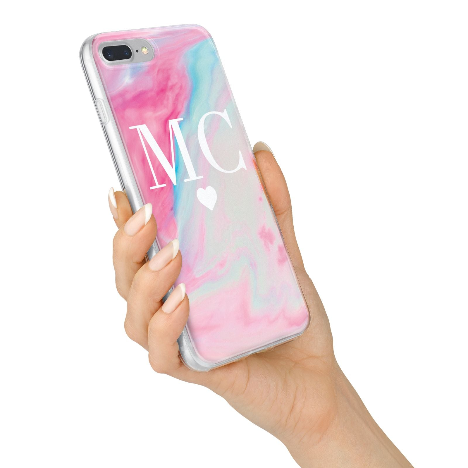 Personalised Pastel Marble Initials iPhone 7 Plus Bumper Case on Silver iPhone Alternative Image