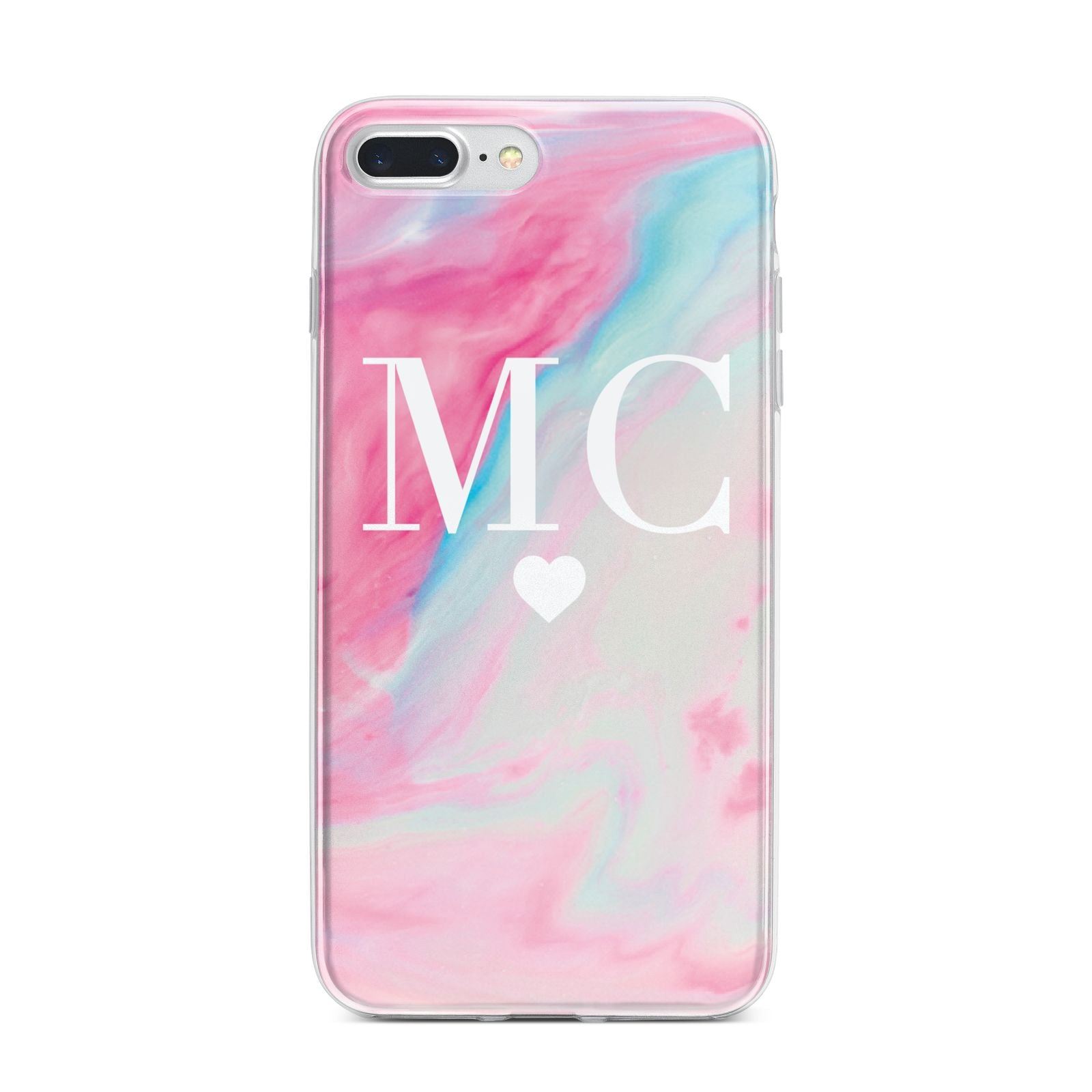 Personalised Pastel Marble Initials iPhone 7 Plus Bumper Case on Silver iPhone
