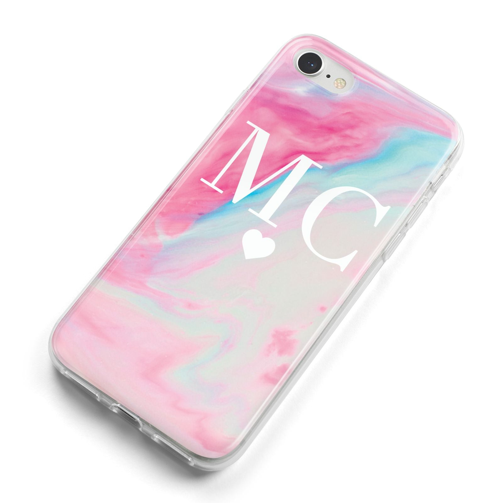 Personalised Pastel Marble Initials iPhone 8 Bumper Case on Silver iPhone Alternative Image
