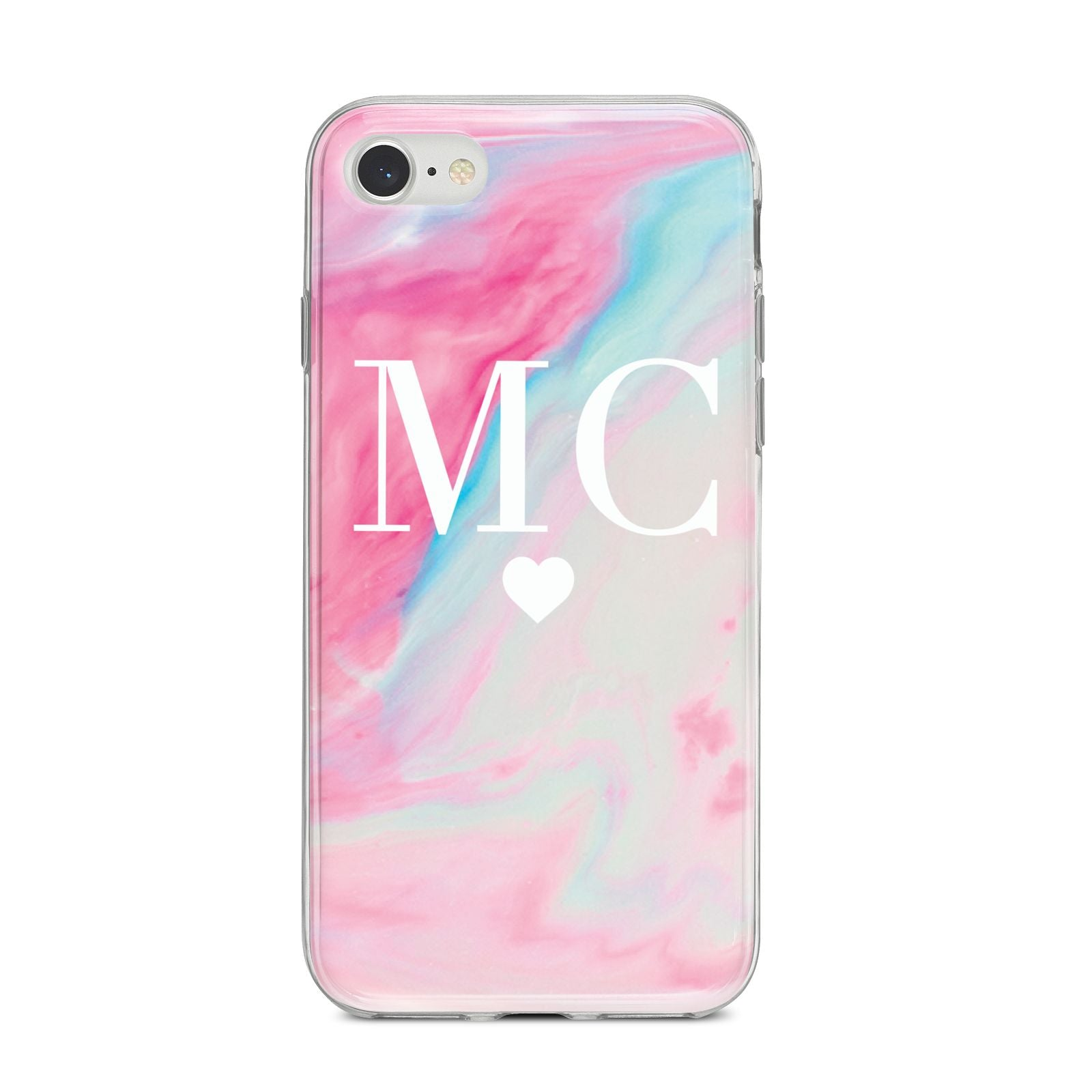 Personalised Pastel Marble Initials iPhone 8 Bumper Case on Silver iPhone