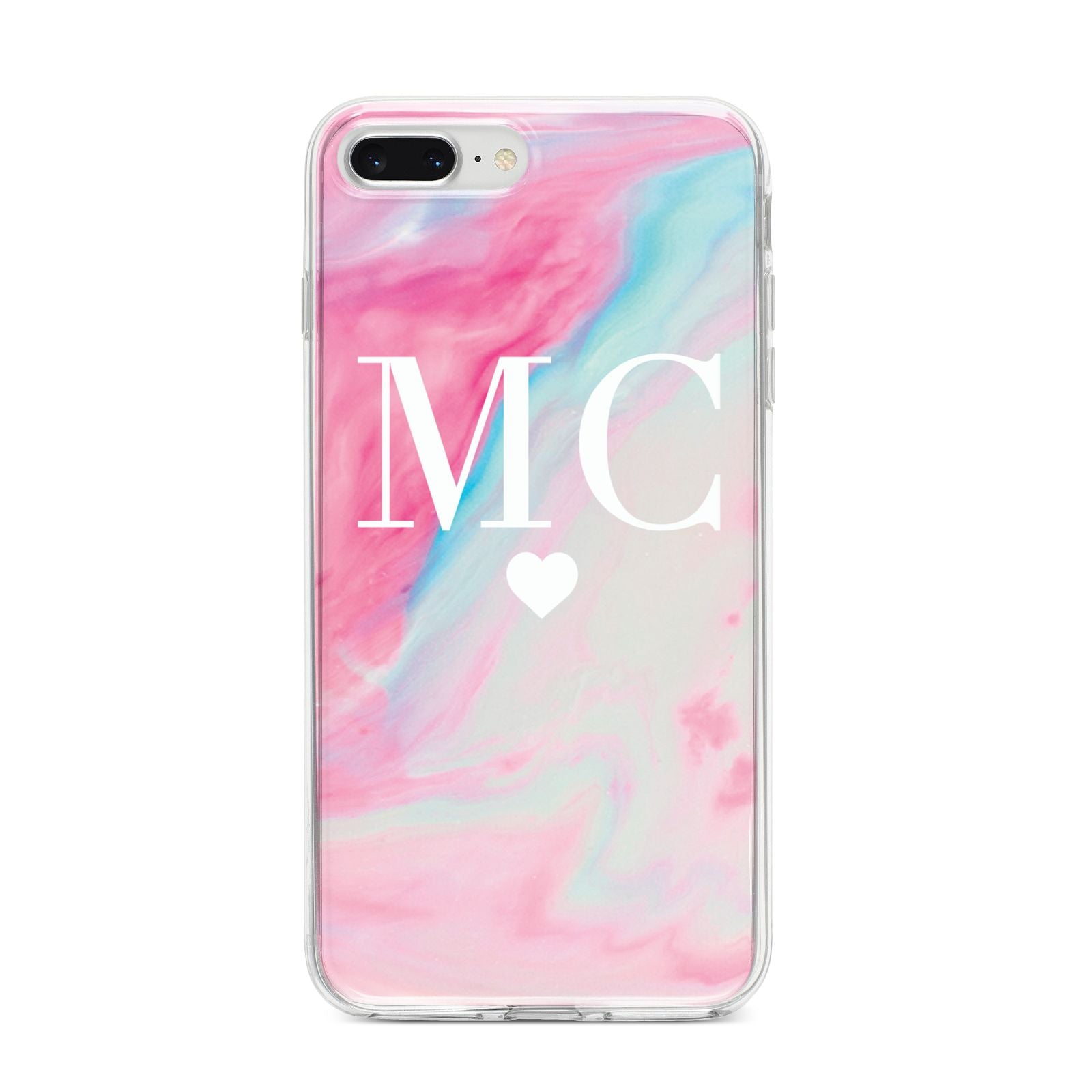 Personalised Pastel Marble Initials iPhone 8 Plus Bumper Case on Silver iPhone