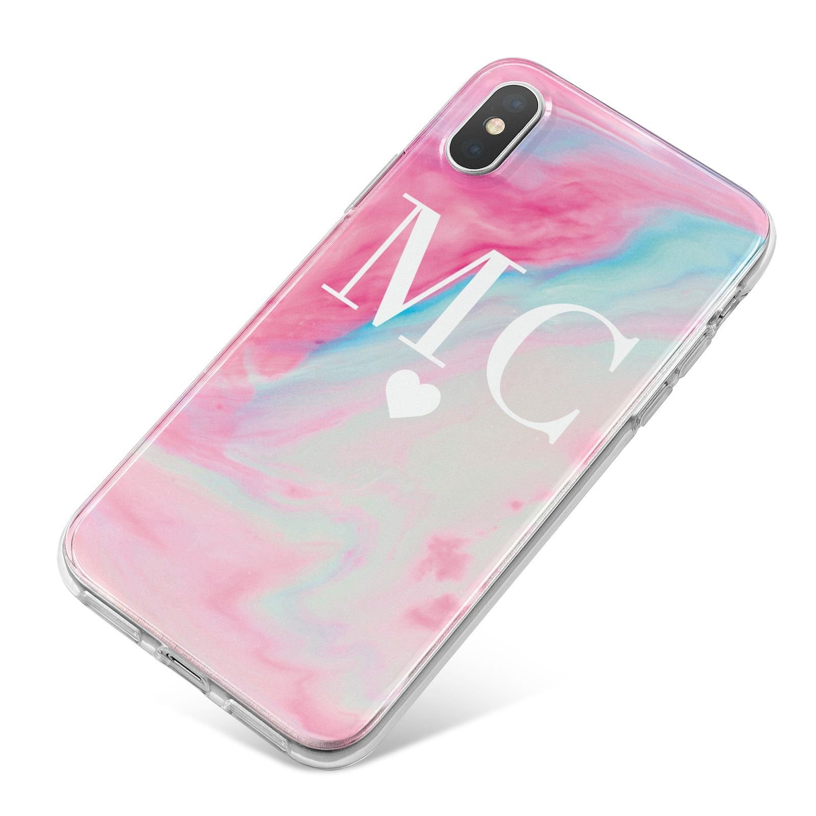 Personalised Pastel Marble Initials iPhone X Bumper Case on Silver iPhone