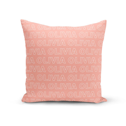 Personalised Peach Name Cushion
