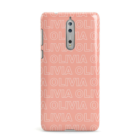 Personalised Peach Name Nokia Case