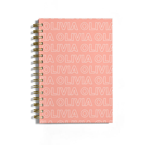 Personalised Peach Name Notebook
