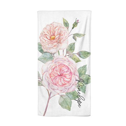 Personalised Peonies Beach Towel