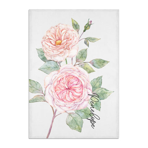Personalised Peonies Tea Towel