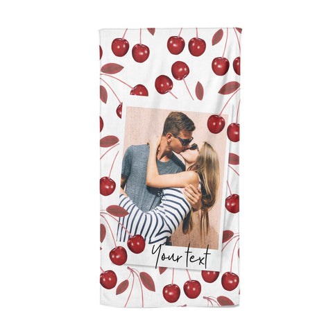 Personalised Photo Cherry Beach Towel