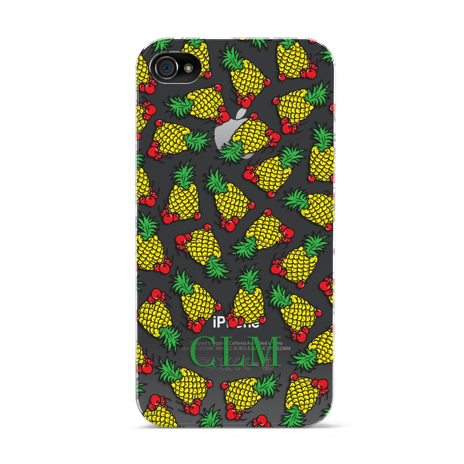 Personalised Pineapple Initials Clear Apple iPhone 4s Case