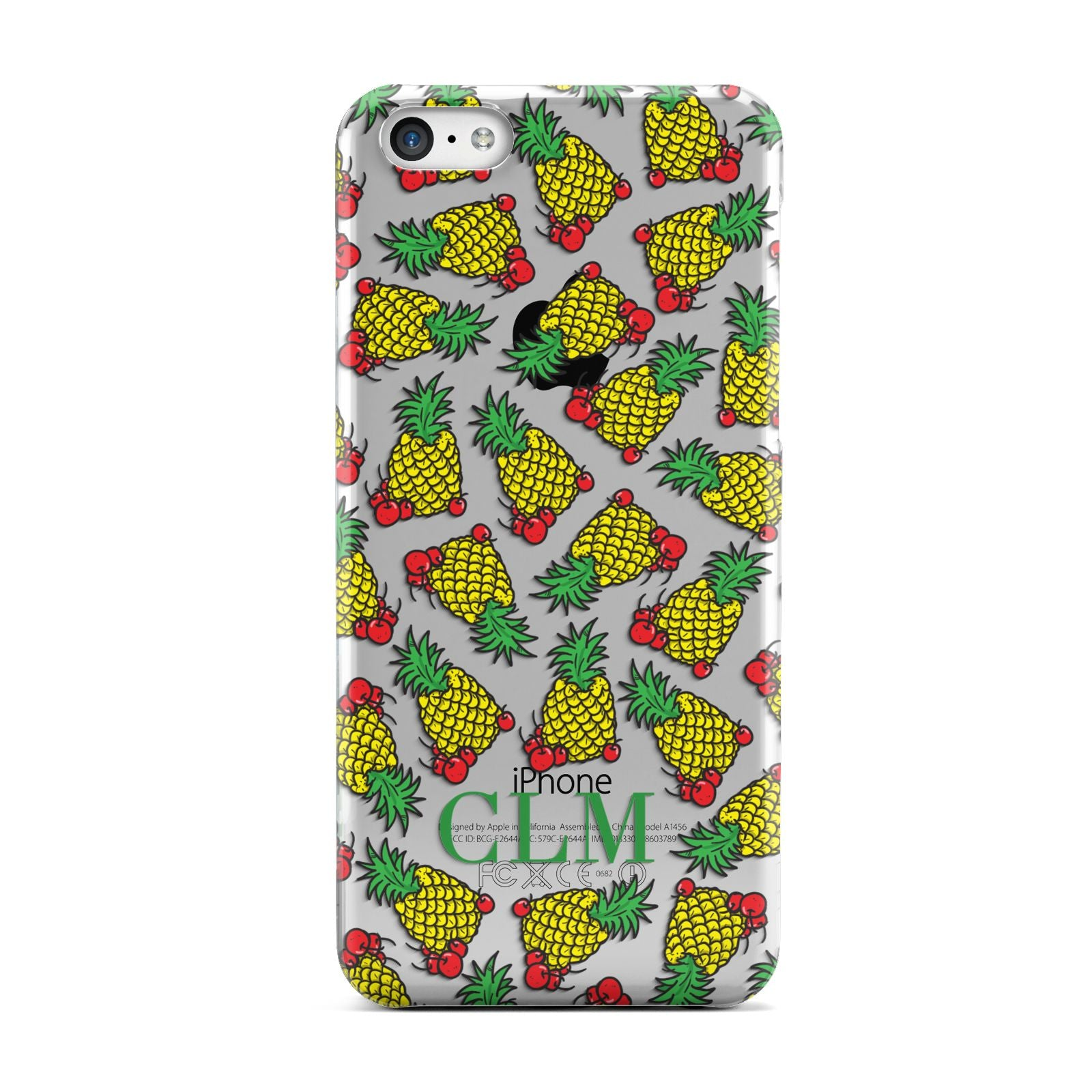 Personalised Pineapple Initials Clear Apple iPhone 5c Case