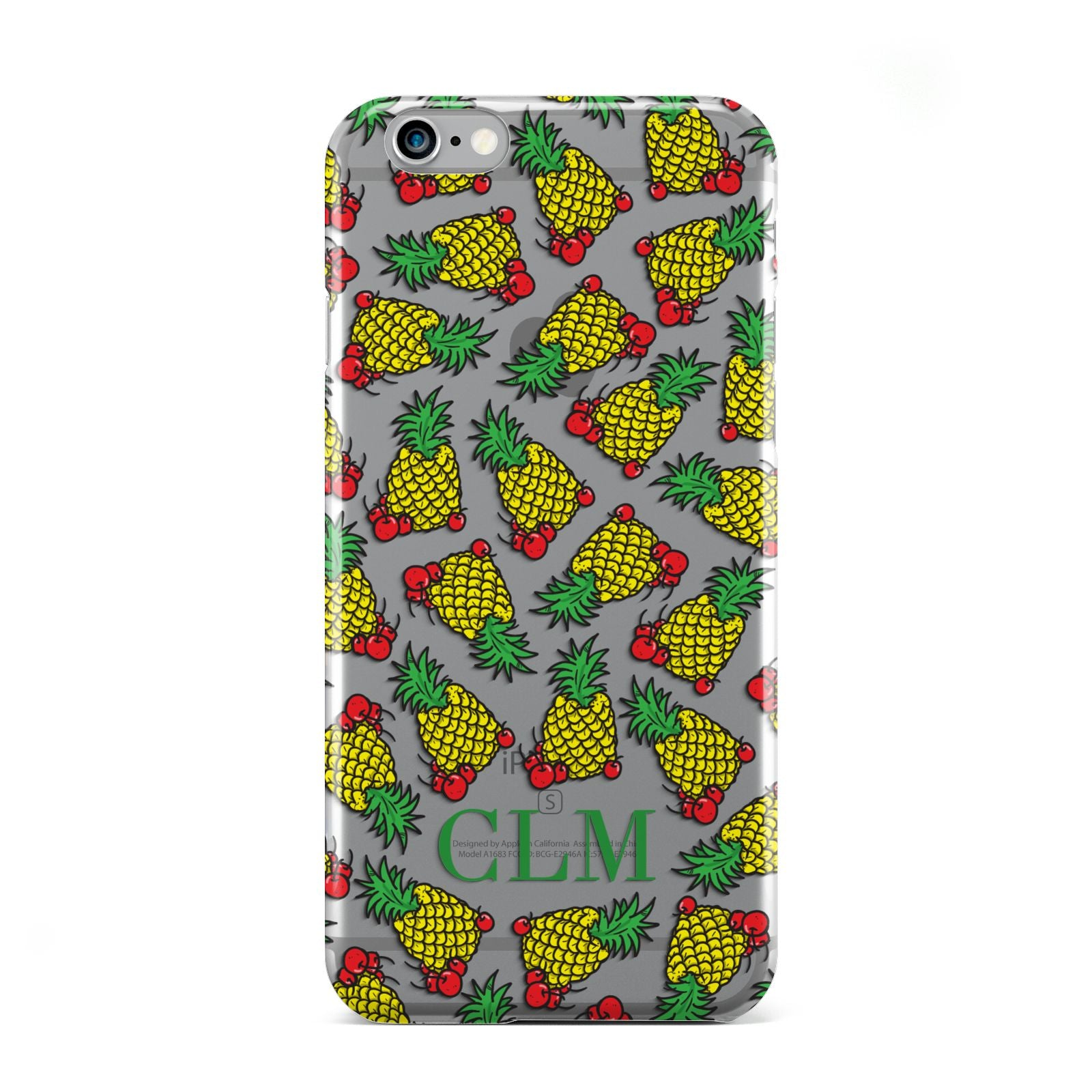 Personalised Pineapple Initials Clear Apple iPhone 6 Case