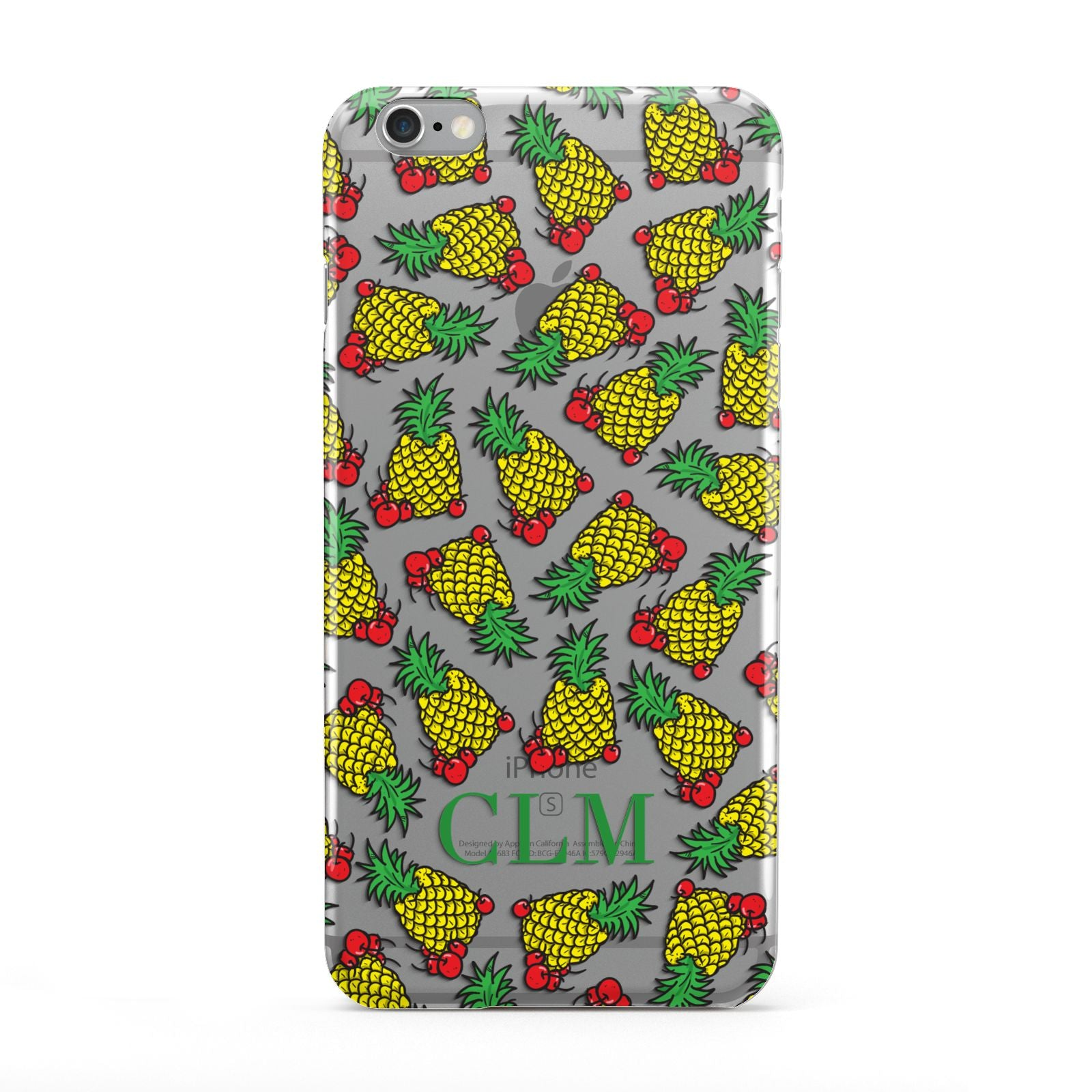 Personalised Pineapple Initials Clear Apple iPhone 6 Plus Case