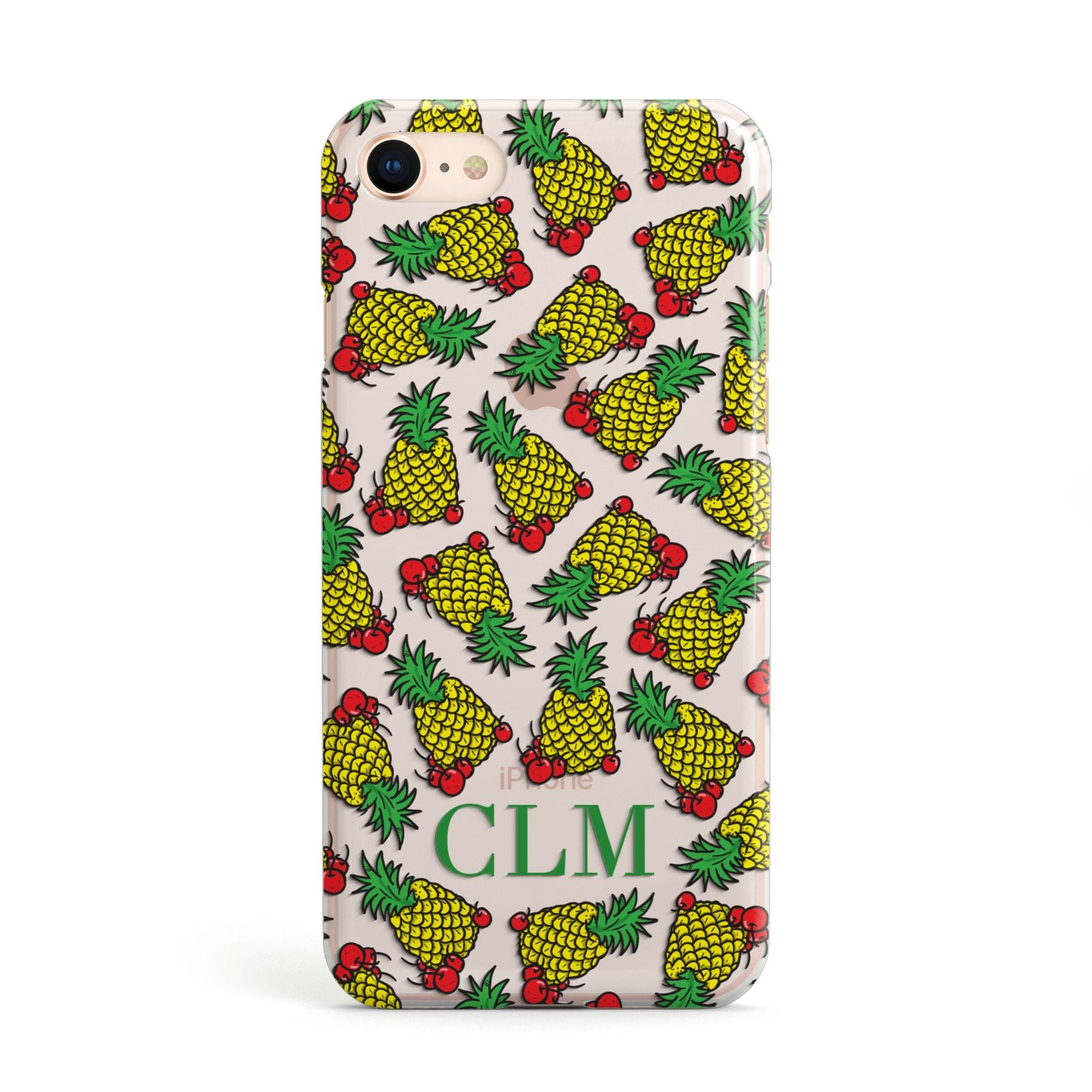 Personalised Pineapple Initials Clear Apple iPhone Case
